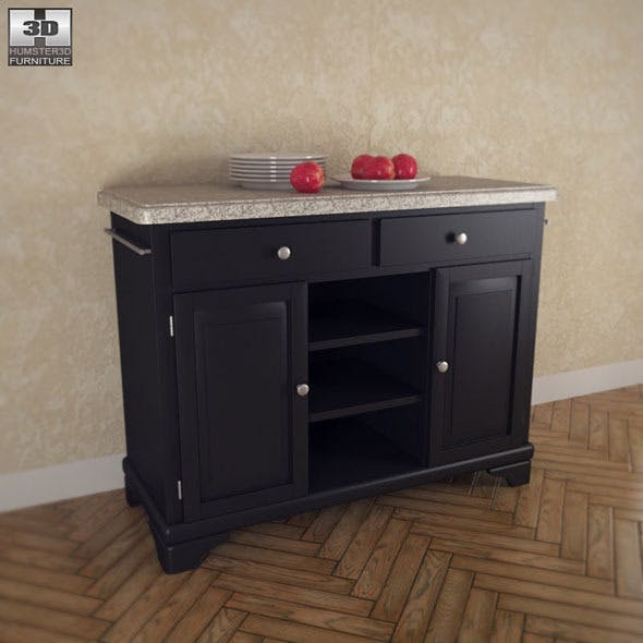 Kitchen Cart with Gray Granite Top - Home Styles  - 3DOcean Item for Sale