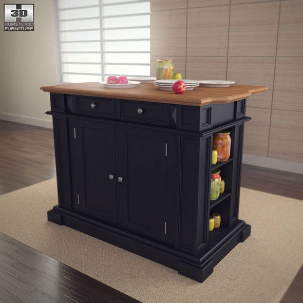 Kitchen Island in Black with Oak Top - Home Styles - 3DOcean Item for Sale