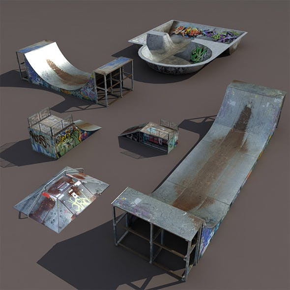 6 skate park element Low Poly