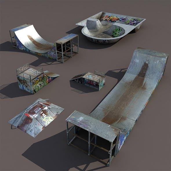 6 skate park element Low Poly