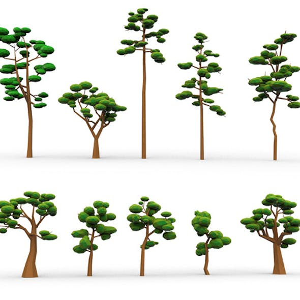 10 Low Poly Cartoon Tree