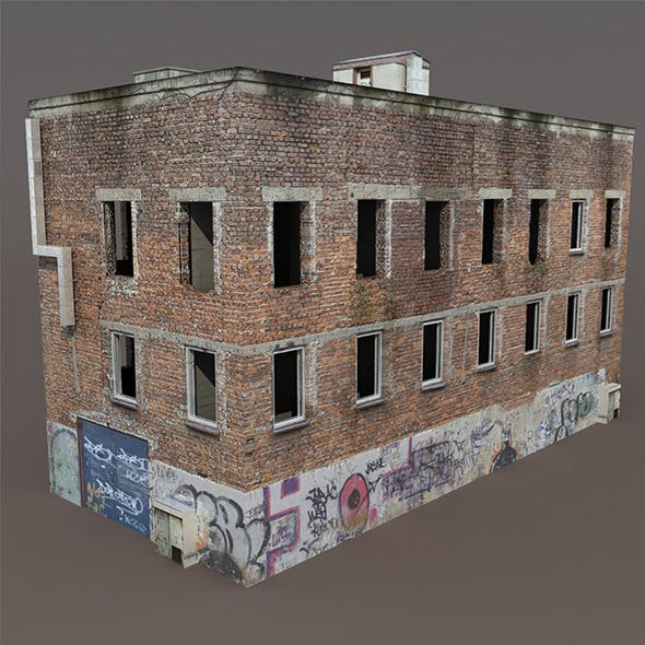 Old Factory Ruin Low Poly 3d Model