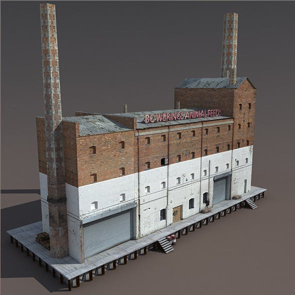 Abandoned Old Factory Low Poly 3d Model