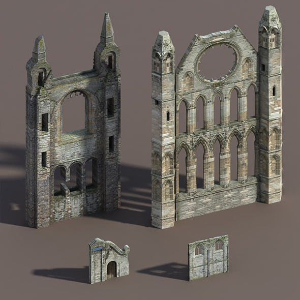 Castle Ruin Pack Low poly 3d Model
