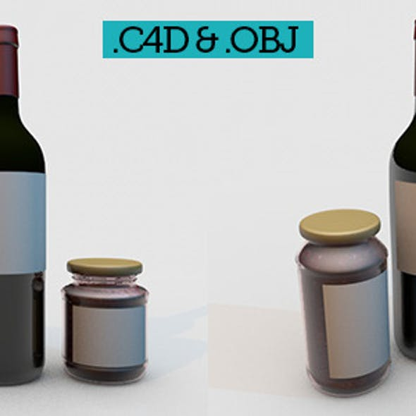 Bottle and package mock up - Wine & Jam