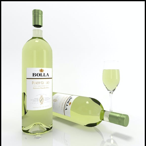 Pinot Grigio wine bottles & full glass: Bolla