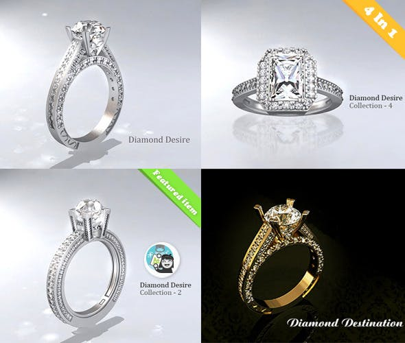 Diamond Ring Collection-1 - 3DOcean Item for Sale