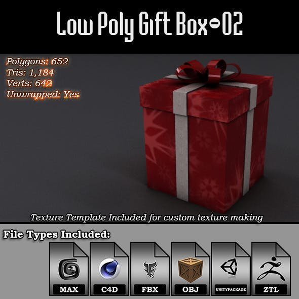 Low Poly Gift Box - 02