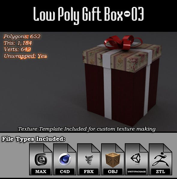 Low Poly Gift Box - 03 - 3DOcean Item for Sale