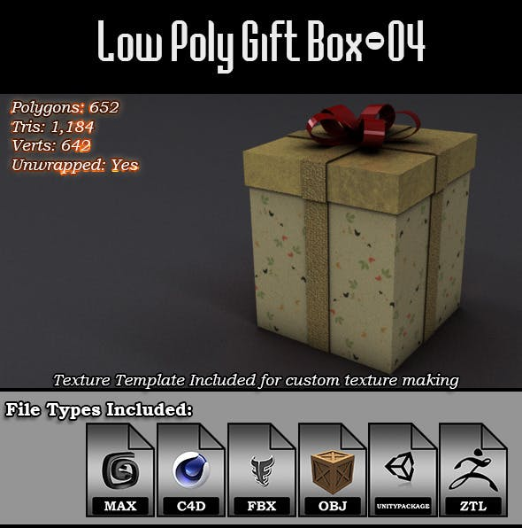 Low Poly Gift Box - 04 - 3DOcean Item for Sale