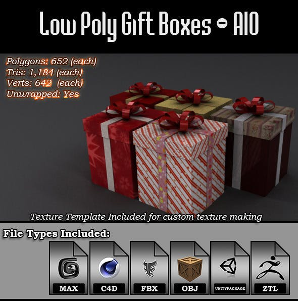 Low Poly Gift Boxes - All-In-One - 3DOcean Item for Sale