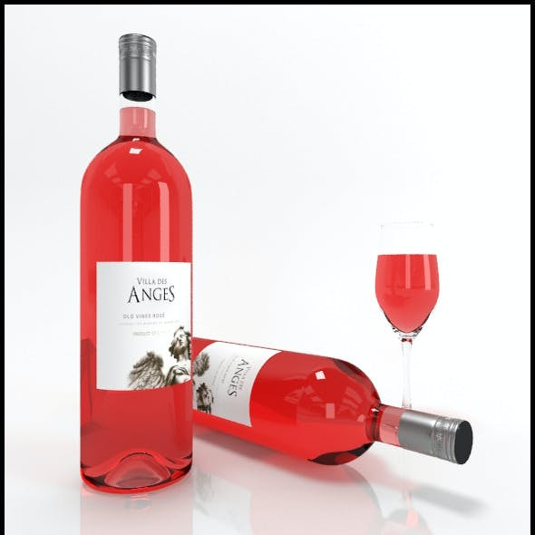 Rose wine bottles & full glass: Villa Des Anges