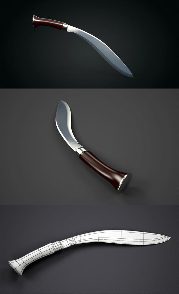 Realistic Kukri Knife - 3DOcean Item for Sale