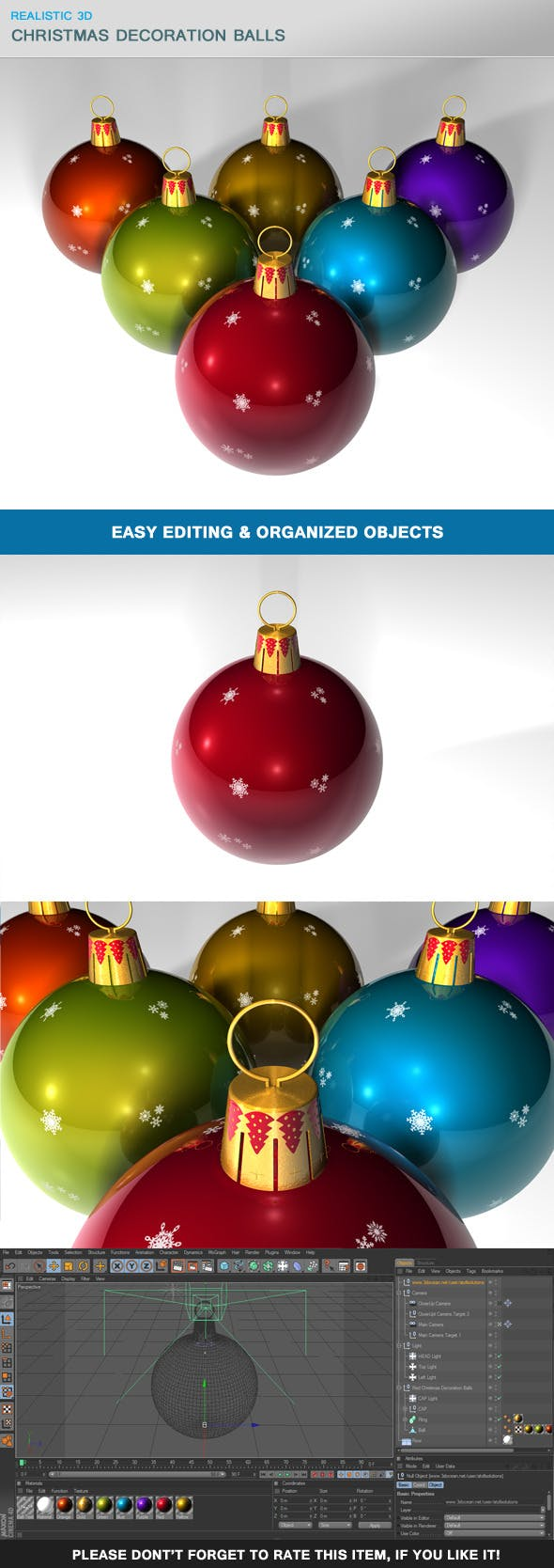 Christmas Decoration Balls - 3DOcean Item for Sale