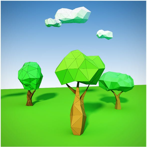 Trees and clouds low poly