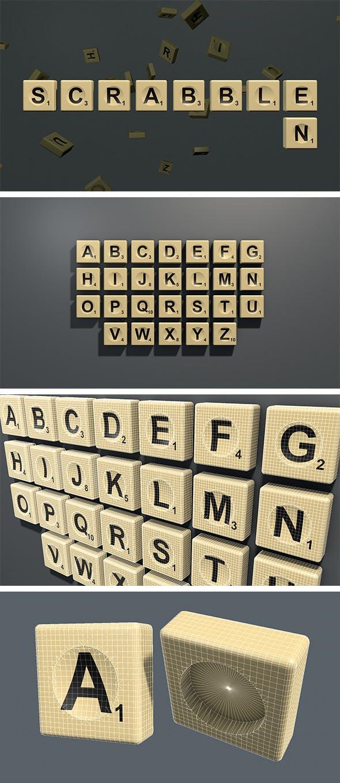 Scrabble letter tiles in English - 3DOcean Item for Sale