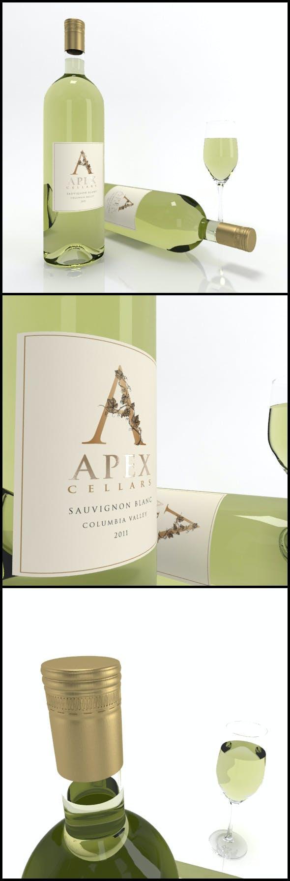Sauvignon Blanc wine bottles & full glass: Apex - 3DOcean Item for Sale