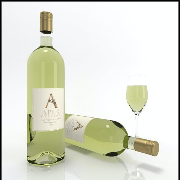 Sauvignon Blanc wine bottles & full glass: Apex