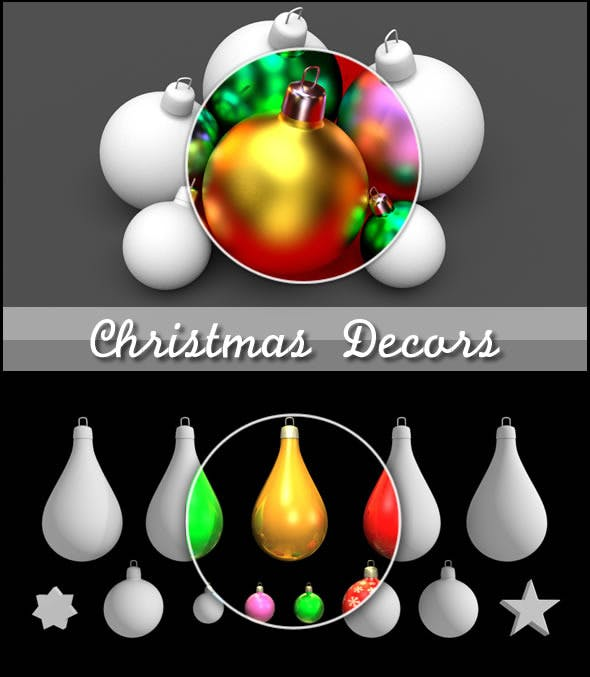 Christmas Decors Balls and Stars - 3DOcean Item for Sale