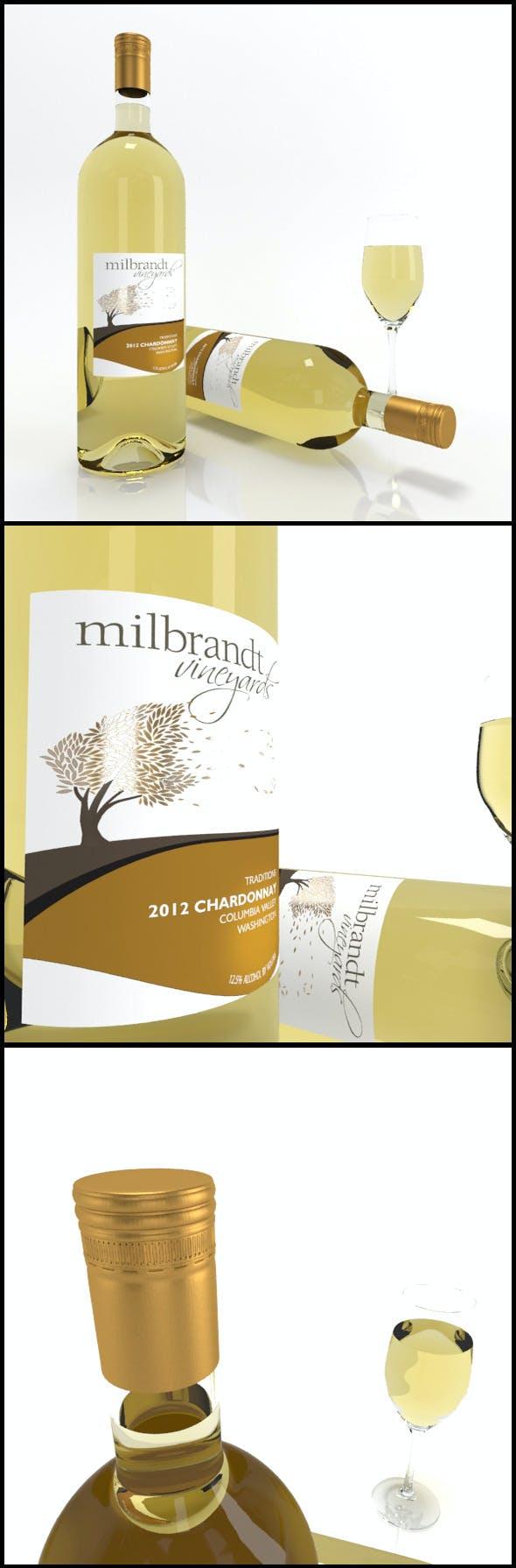Chardonnay wine bottles & full glass: Milbrandt - 3DOcean Item for Sale