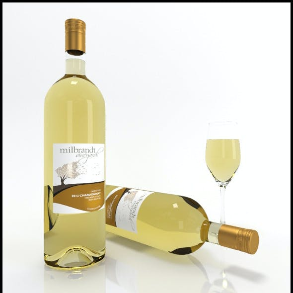 Chardonnay wine bottles & full glass: Milbrandt