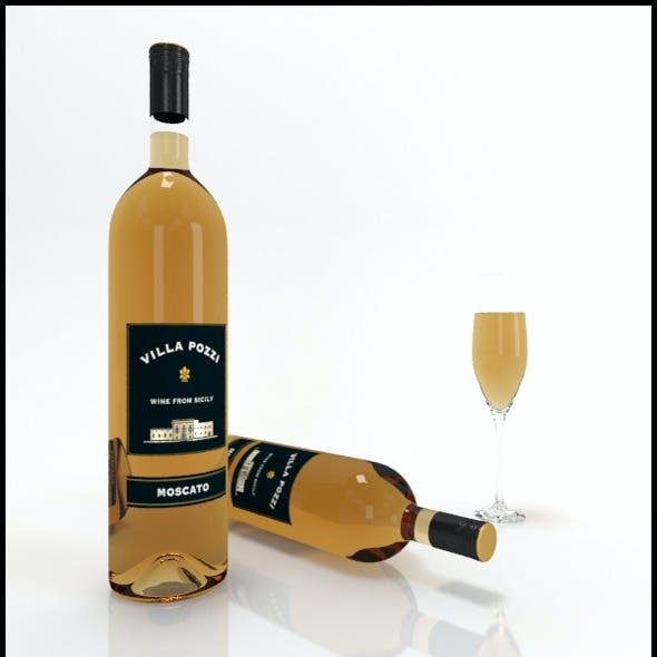 Moscato wine bottles & full glass: Villa Pozzi