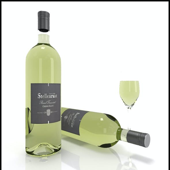 Chenin Blanc wine bottles, full glass: Stellenrust