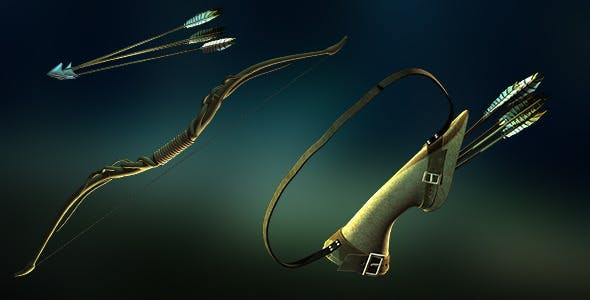 Forest Bow, Arrow and Quiver Set - 3DOcean Item for Sale