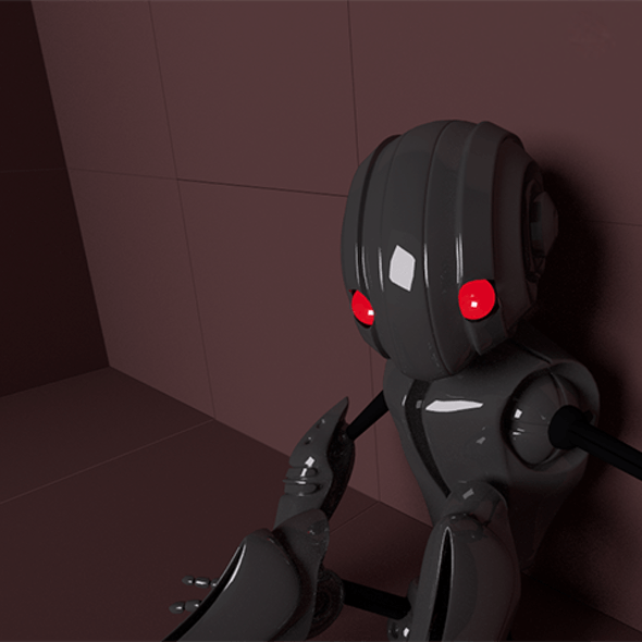 Futuristic Child-Robot High-Poly