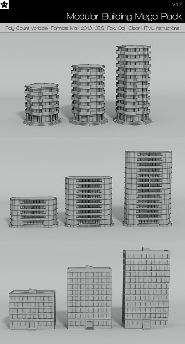 Modular Building Mega pack 2 - 3DOcean Item for Sale