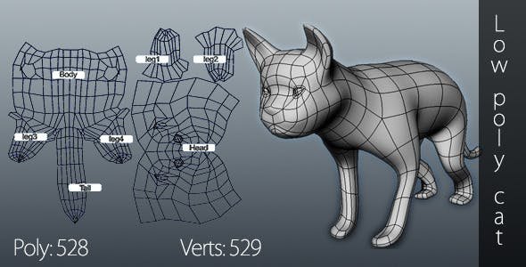 Low poly cat - 3DOcean Item for Sale
