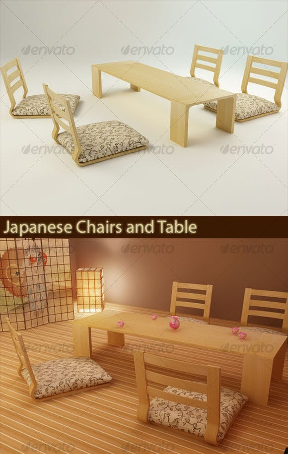 Japanese Chairs and Table - 3DOcean Item for Sale
