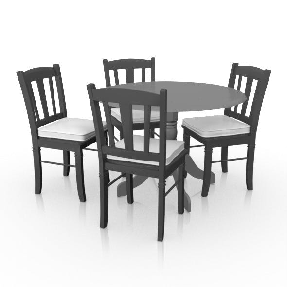 Dining Set (Leaf Table x4 Chairs) - 3DOcean Item for Sale
