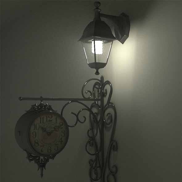 Victorian Wall Lamp and Clock (Modern Set)