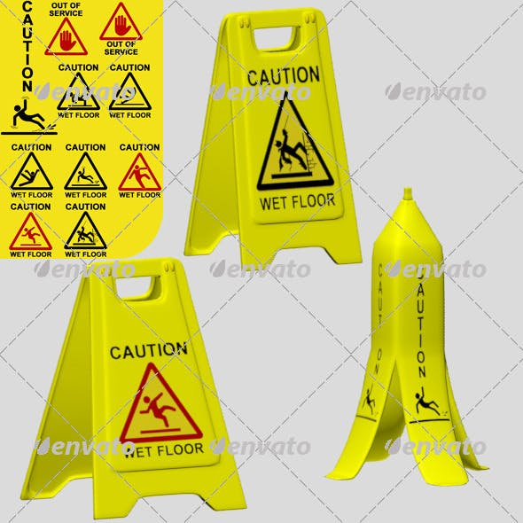 Caution Wet Floor and Out of Service - 3DOcean Item for Sale