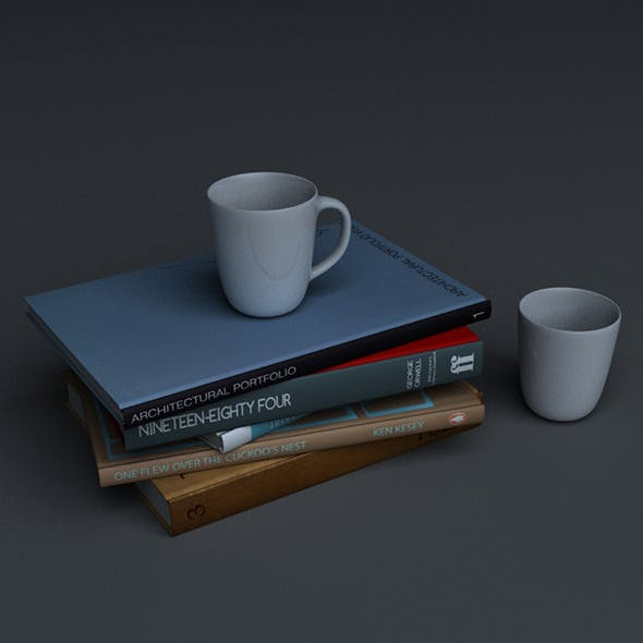 Stack of books with two mugs