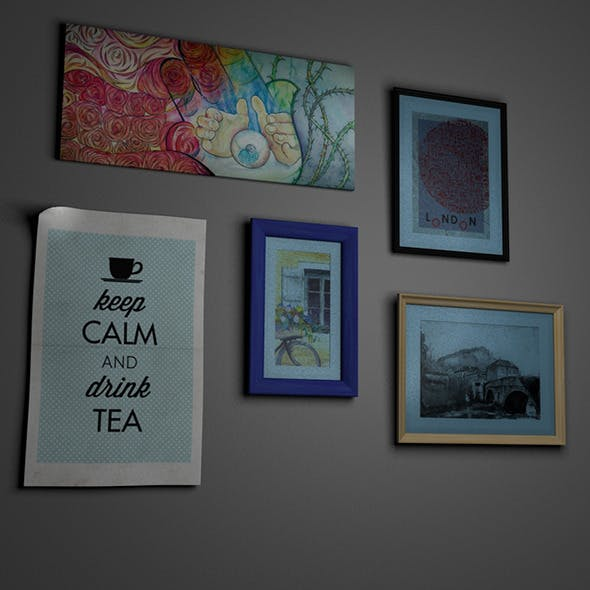 Picture Frames and Paintings Set