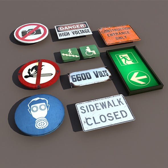 Various types Signs Low Poly 3d Model