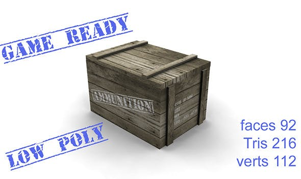 ammo box wood - 3DOcean Item for Sale