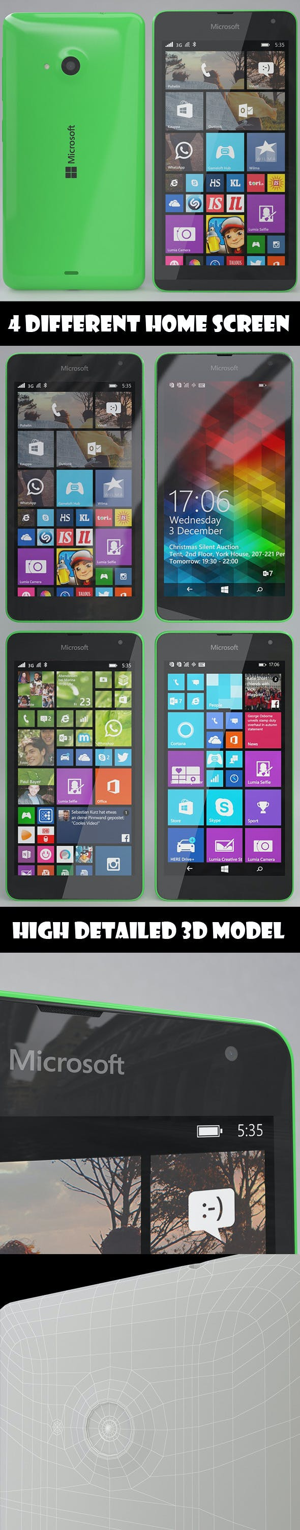 Microsoft Lumia 535 Green - 3DOcean Item for Sale