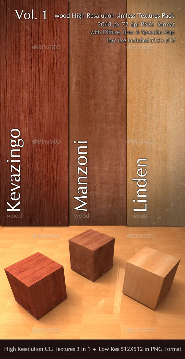 Wood CG Textures High Resulution seamless 3 in 1  - 3DOcean Item for Sale