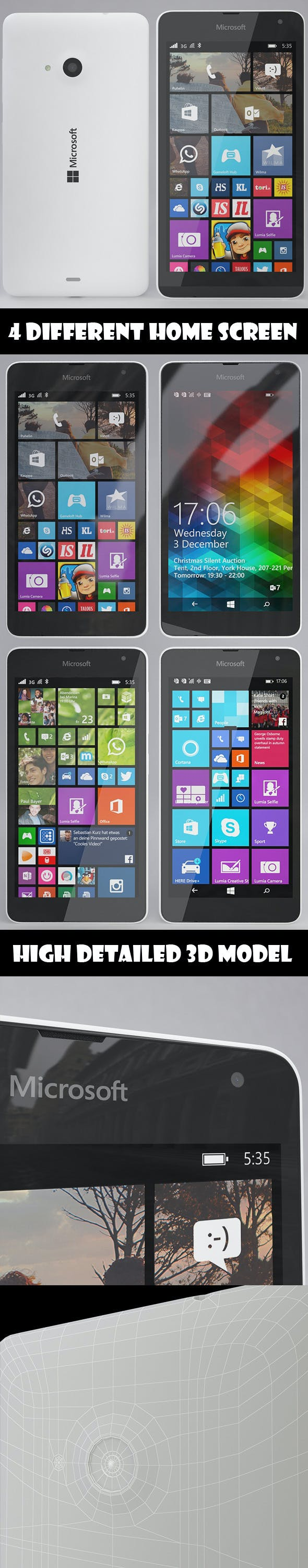 Microsoft Lumia 535 White - 3DOcean Item for Sale