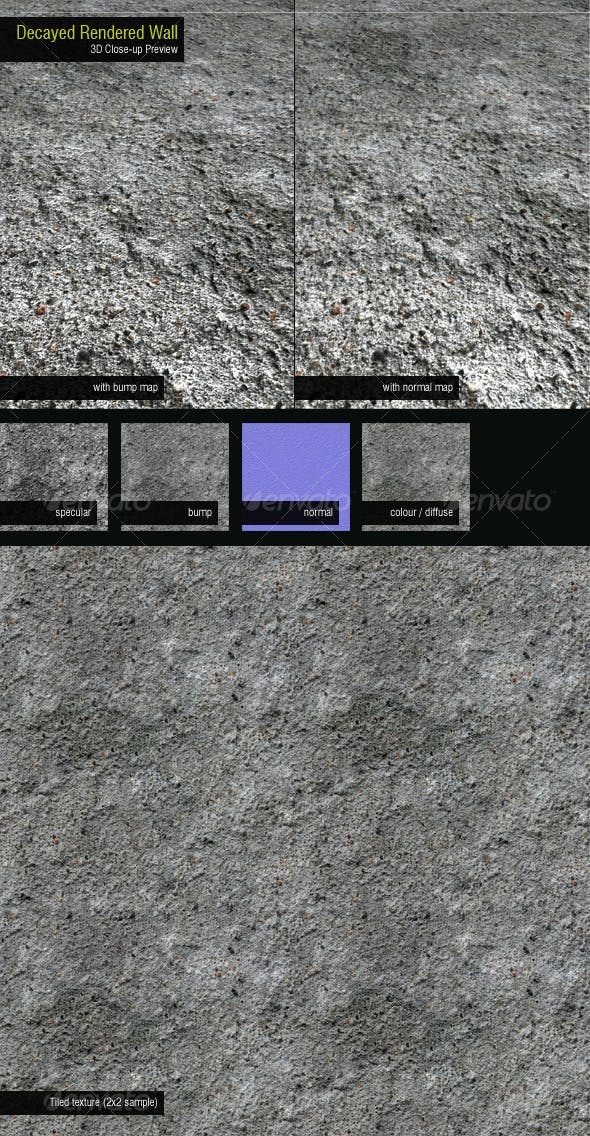 Decayed Rendered Wall - 3DOcean Item for Sale