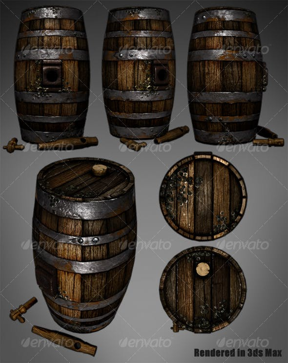 Lowpoly Wooden Wine Barrel - 3DOcean Item for Sale