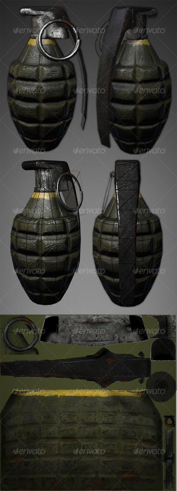 Lowpoly Pineapple Grenade - 3DOcean Item for Sale