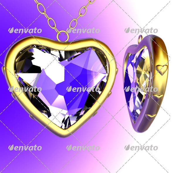 Golden Heart with diamond - 3DOcean Item for Sale