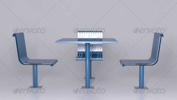 Steel Table and Chairs - 3DOcean Item for Sale