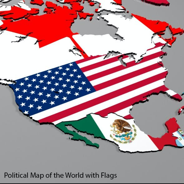 Political Map of the World with Flags