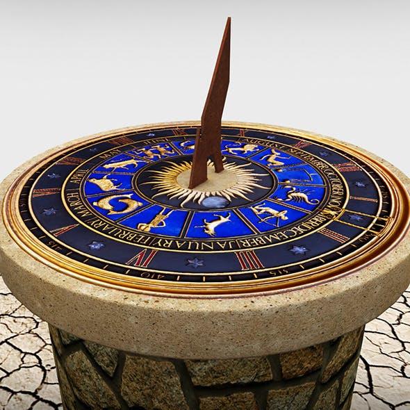 Solar sundial clock