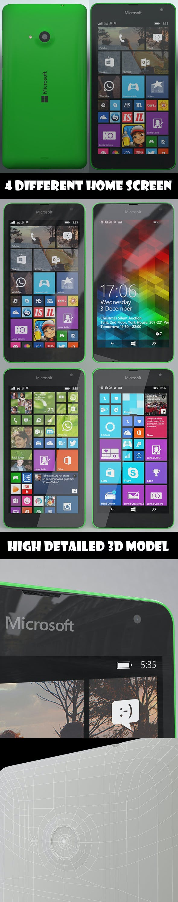 Element 3D - Microsoft Lumia 535 Green - 3DOcean Item for Sale